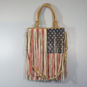 Steve Madden American Flag Fringe Purse